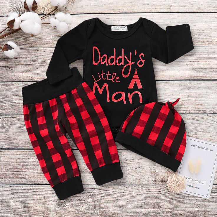 Baby / Toddlers Stylish 3-piece DADDY'S LITTLE MAN Romper Plaid Pants Hat Set