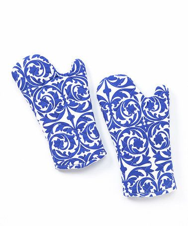 Another great find on #zulily! Santorini Blue Oven Mitt - Set of Two #zulilyfinds
