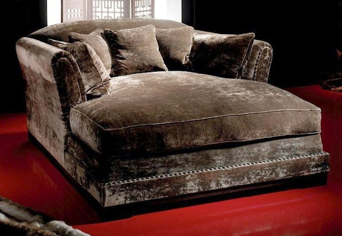 LOVE THE FABRIC....Big, huge, over-sized double chaise lounge chair to snuggle up and watch tv.