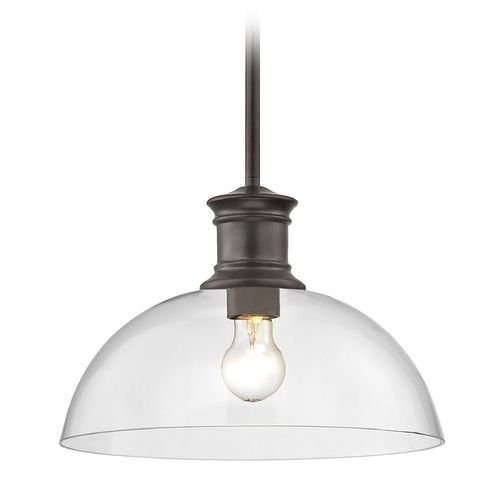 Industrial Bronze Pendant Light with Clear Glass 13-Inch Wide at Destination Lighting