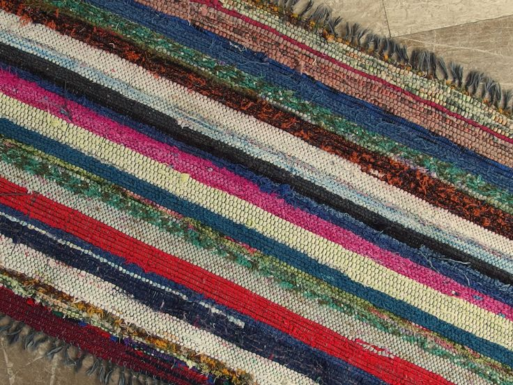 Small Vintage Rag Rug Bath Mat Kitchen Wall hanging Striped Rug Fuschia Black Blue Bordeaux Green Red Mustard Yellow Gray Orange 1950's by VintageHomeStories on Etsy