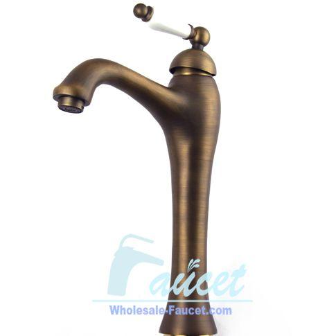 Antique Brass Bathroom Faucet With Single Ceramic Handle 0072F