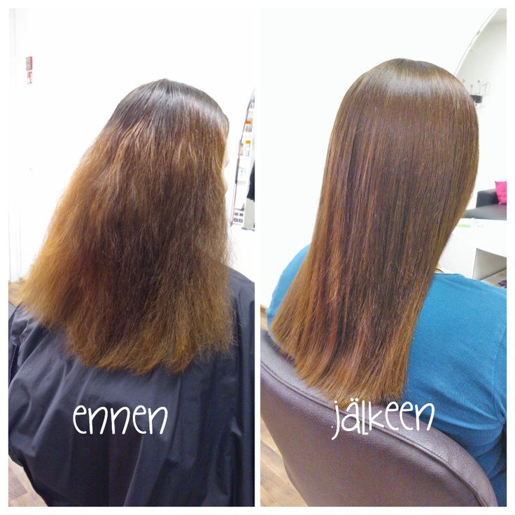 Before and after colouring and conditioning. For result we got beautiful smooth and shiny brown hair. Hair by Emmi/Parturi-kampaamo Salon Maria Seinäjoki