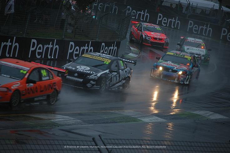 Australian V8 Supercars racing in the wet