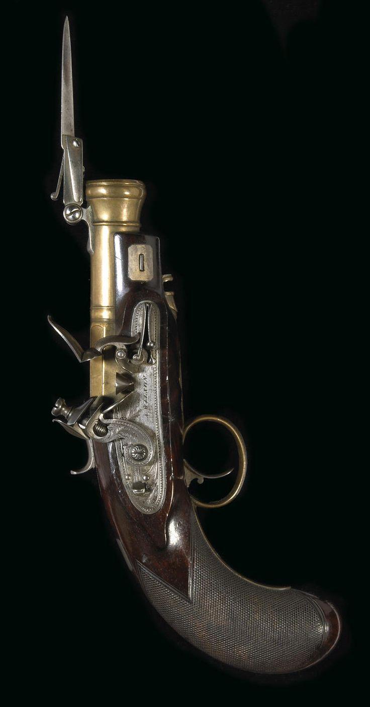 An English flintlock bayonet pistol by Alexander Wilson - early 19th century.