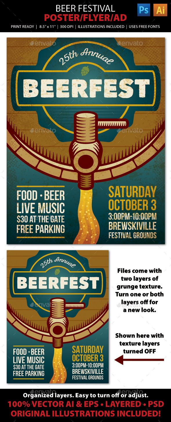 BEER FESTIVAL Event Poster, Flyer or Ad. Advertise your next beer event (Oktoberfest, Brew Festival, Craft Beer Tasting, Brewery Tour, or Microbrewery Grand Opening) with this bold, vintage style flyer! File comes with all the elements you need to create accompanying print pieces such as postcards, ads, invitations, brochures, announcements, banners, and web graphics. Well organized layers allow for easy layout adjustments.