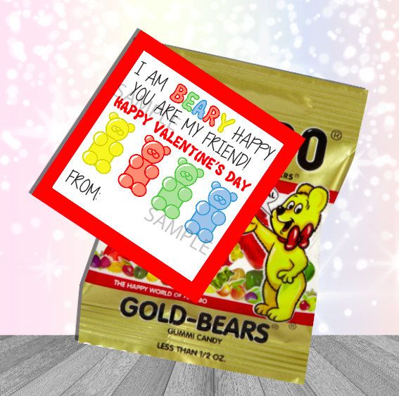 Gummi Bear Valentine Bag Tag Digital Download  Prints 12 Per 8.5x11 Page  2.5x2.5 Perfect for single serve mini bags!  Just Add Gummi Bears !!  You will receive a Link to download your file containing all your order. Any issues or concerns please contact us!  This is for a Digital File only. No physical items will be posted out. Please be aware that all color settings differ on devices/monitors and printers.