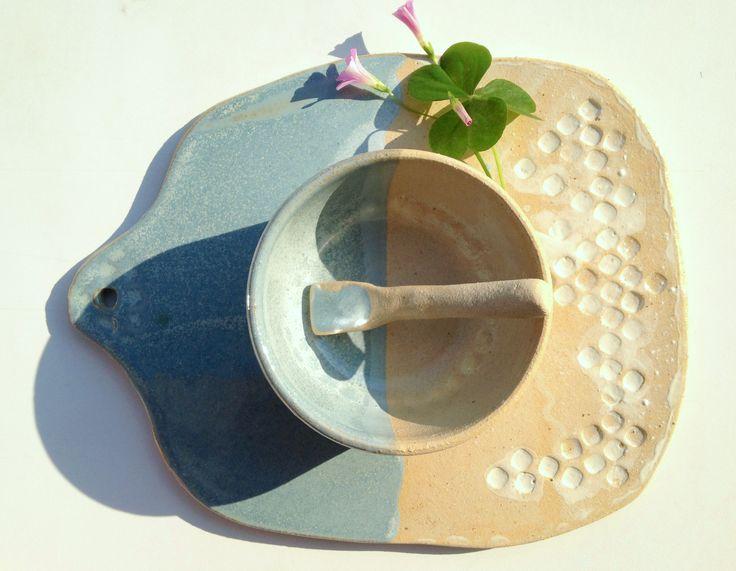 Petisqueira de cerâmica com 3 peças - https://www.facebook.com/danielanobregaceramica/