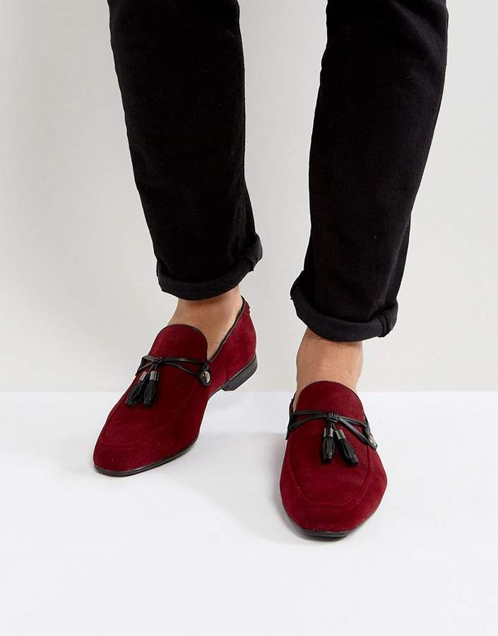 fce91a17e6a ASOS Loafers In Burgundy Faux Suede With Tassel