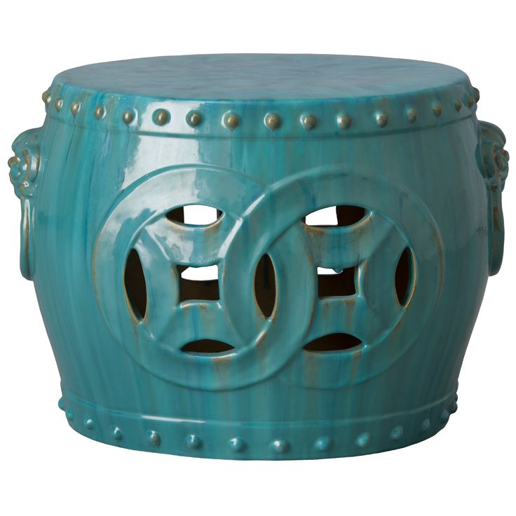 Double Fortune Garden Stool In Antique Blue Green Glaze   ON BACKORDER  UNTIL MARCH 2016