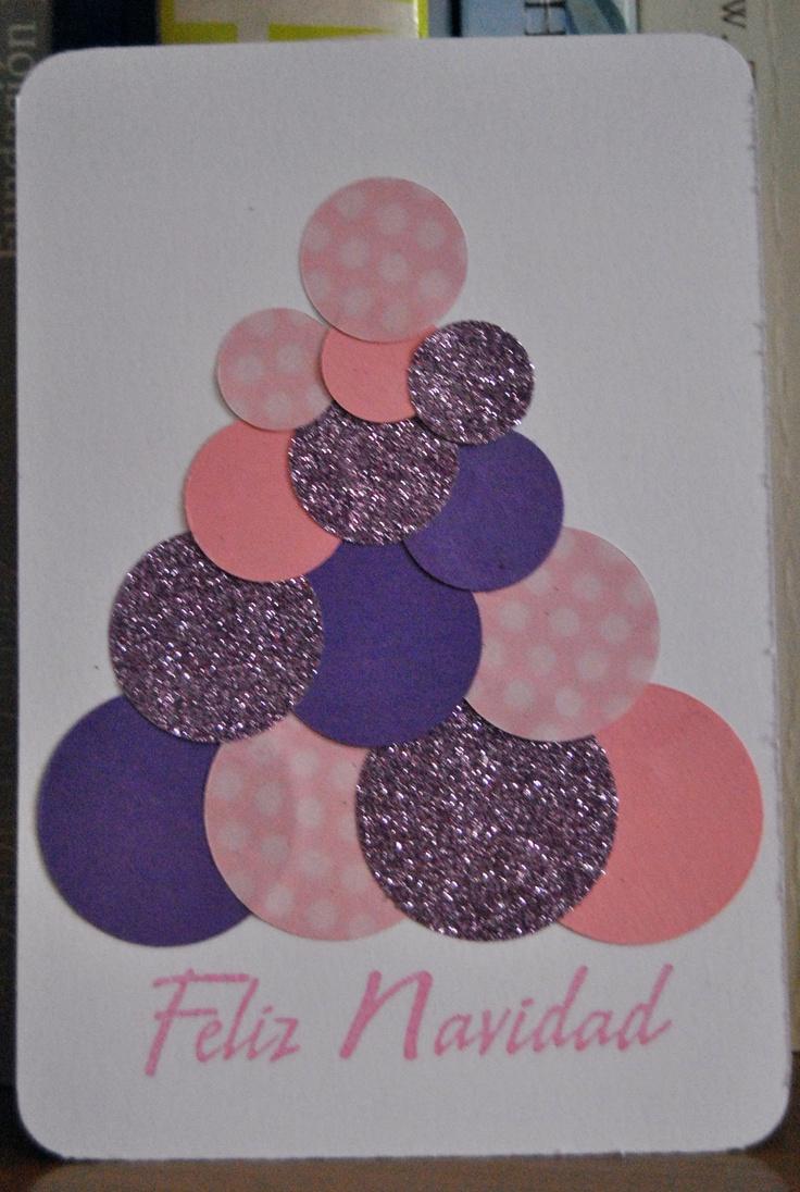 tarjeta árbol navidad con círculos