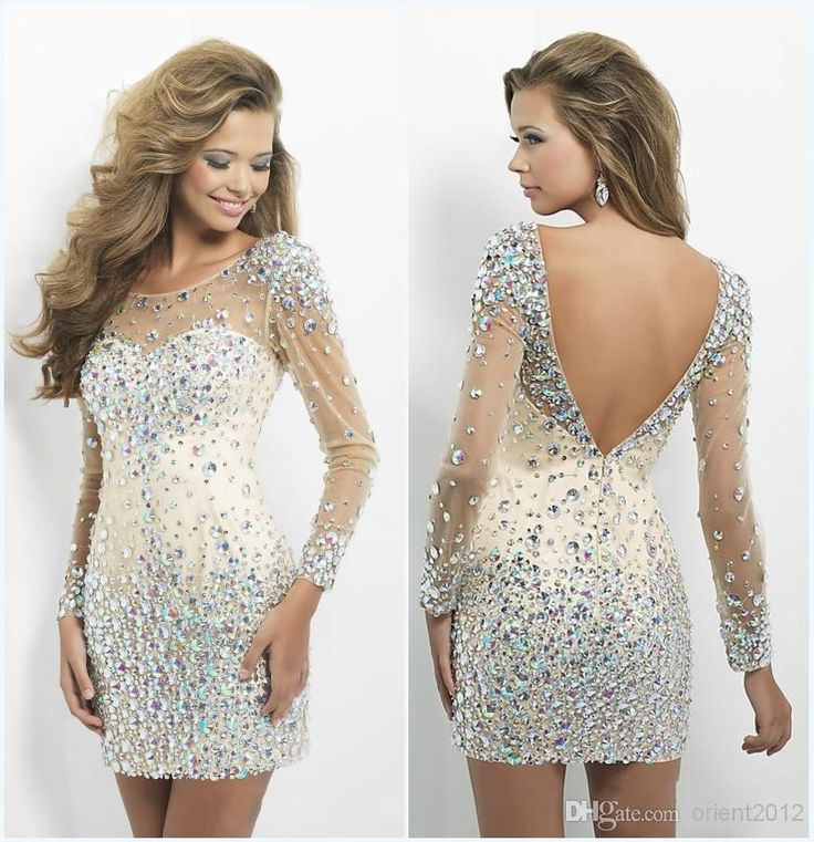 Wholesale Cocktail Dresses - Buy 2014 Dazzing Crystal Prom Dress Gorgeous Homecoming Dresses Sexy Jewel Beads Backless Tulle Short Mini Long Sleeves Sheath Cocktail Dresses, $146.0 | DHgate