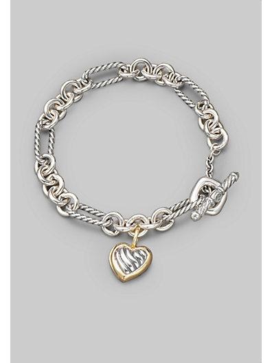 David Yurman Sterling Silver 18k Yellow Gold Heart Charm Bracelet Saks Flair In 2018 Pinterest Jewelry Bracelets And