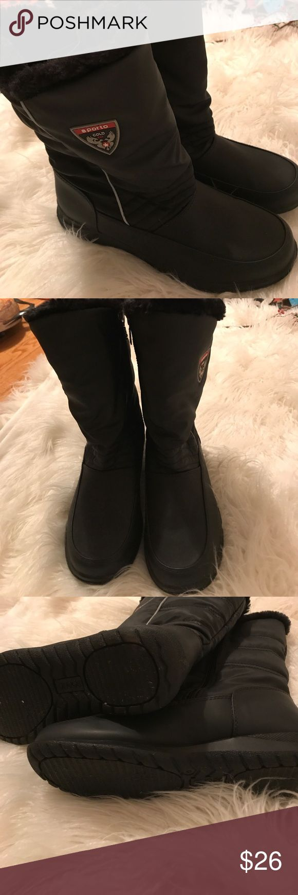 Sporto boots like new Sporto boots like new, One twice maximum. They are a size 9 medium. They will surely keep your feet warm with a black fur lining, yas002 Sporto Shoes Winter & Rain Boots