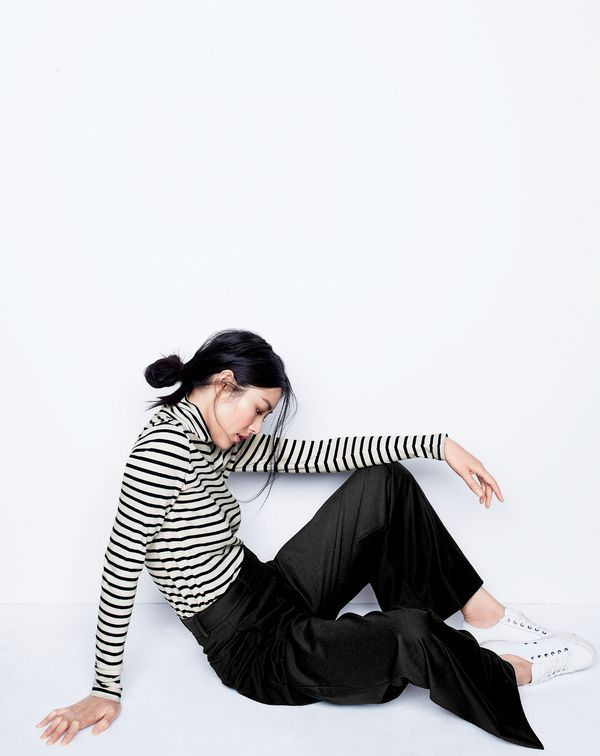 J.Crew women's striped tissue turtleneck T-shirt, wide-leg pant and SeaVees® for J.Crew 06/67 Monterey sneakers in white leather.