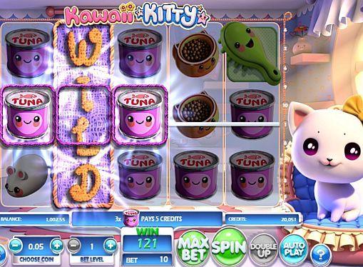 Игровой автомат Kawaii Kitty на реальные деньги  Компания Betsoft выпустила игровой аппарат Kawaii Kitty для любителей домашних кошек. В этом автомате вы будете получать реальные призы при помощи респинов и составления комбинаций на 10 линиях. Также вы сможете удваивать выигранные деньги в риск-режиме.