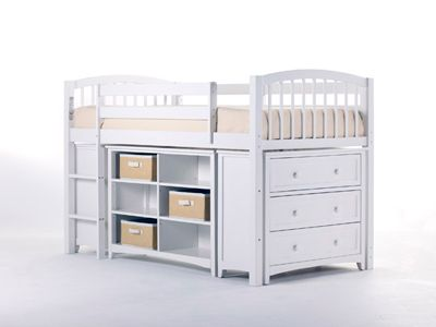Junior Loft Bed with Cases in White
