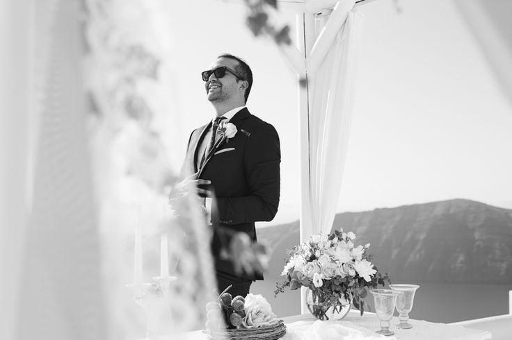 Groom, Wedding Attire, Black And White, Caldera View, Moments, Memories, In Love, Joy, Santorini Weddings