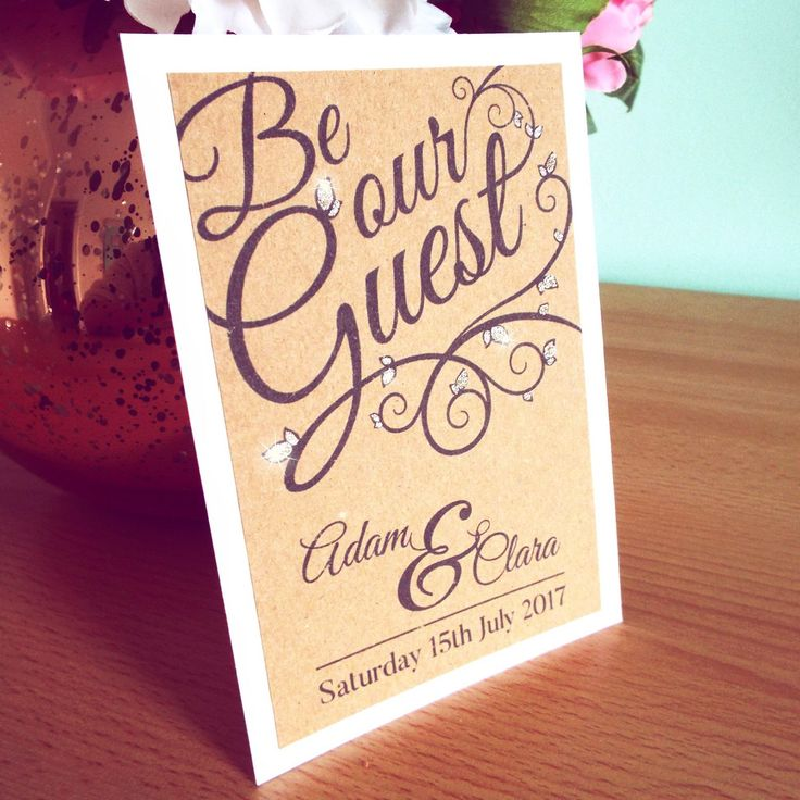 how to put guest names on wedding invitations%0A Be Our Guest Wedding Invitation Set  Includes Kraft Card on Hammered White Card  Invitation  RSVP  Envelope and Venue Information