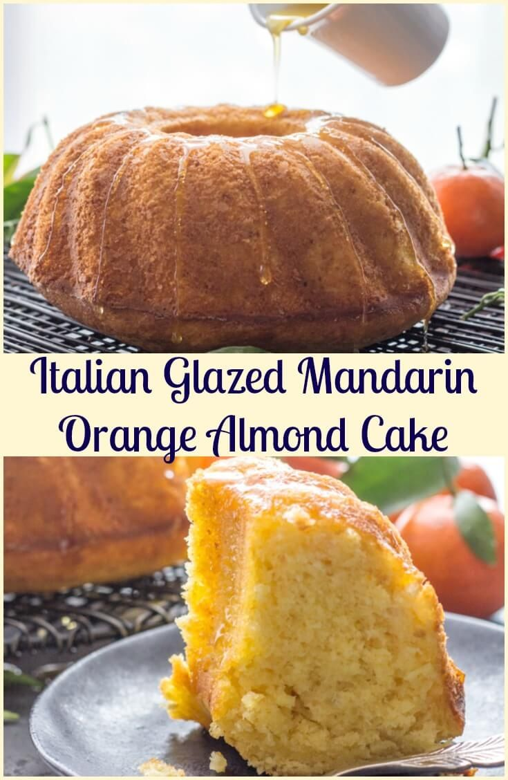 Italian Glazed Mandarin Orange Almond Cake, an easy Breakfast or Snack Cake, fresh Mandarins and a simple glaze is all you need. Delicious. via @https://it.pinterest.com/Italianinkitchn/