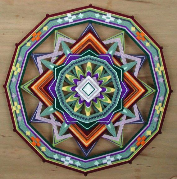 Shield of Love, a custom order 24 inch Ojo de Dios (Gods Eye) mandala, by Jay Mohler