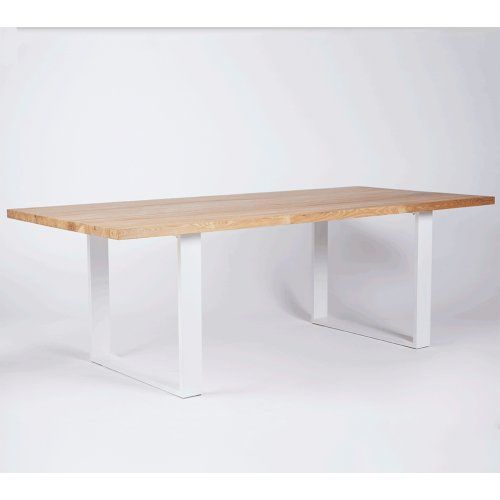 The Pyrmont Dining Table- Elm Timber Top on White Steel Legs | Urban Couture - Designer Homewares