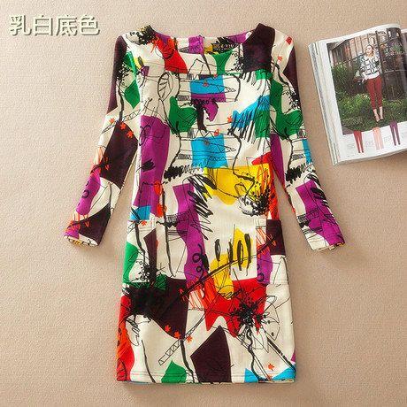 Aliexpress.com: Comprar 2015 mujeres de ropa vintage winter estilo europeo vestido de manga larga vestido más el tamaño de otoño mujer imprimir varios vestidos 4XL de vestido de Pooh confiables proveedores de linda store 12.