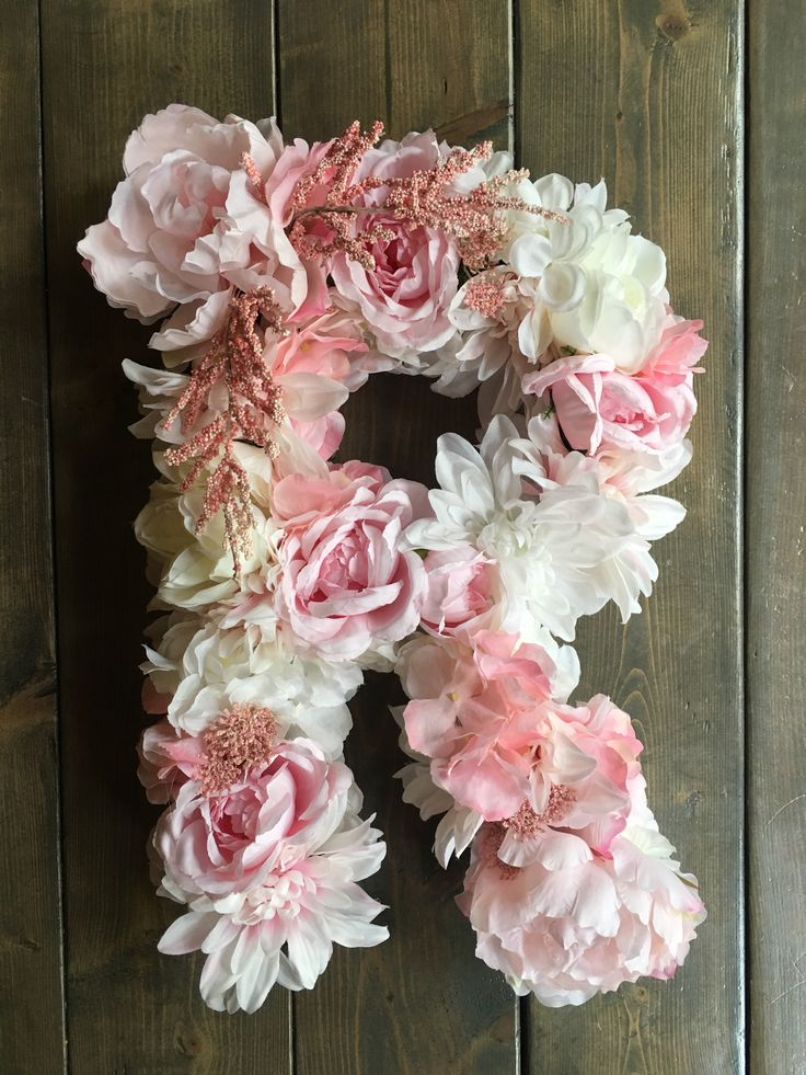 Bailey Begonia custom floral letters - click to see more on Etsy! You pick the colors, I create your custom letter!  Blush pink wedding, Floral letter, custom floral letter, large floral letter, flower letter, custom flower letter, large flower letter, blush pink flowers, blush pink wedding decor, monogram letter, monogram floral letter