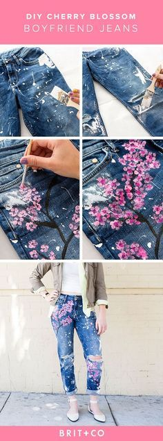 Recreate Blake Lively's $500 cherry blossom boyfriend jeans with this DIY. 1. Lather a large paintbrush with white acrylic paint and splatter all over your jeans.  2. Paint a tree skeleton onto the pants using black paint. 3. Add cherry blossoms with different shades of pink.