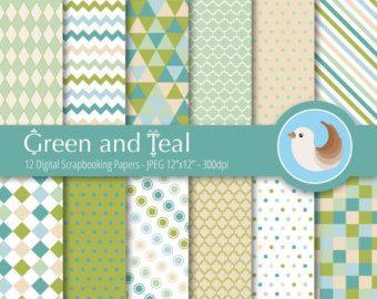 Libro Digital verde Set - conjunto de 12 papeles de Scrapbooking Digital papel Digital - papel Digital verde y azul - verde y verde azulado