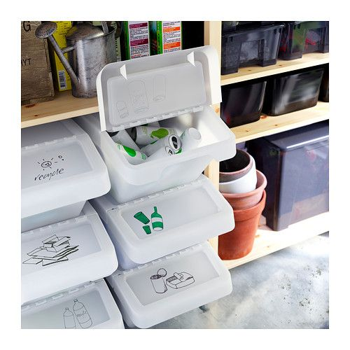 SORTERA Recycling bin with lid IKEA Folding lid for easy access to the contents in a stack of boxes.