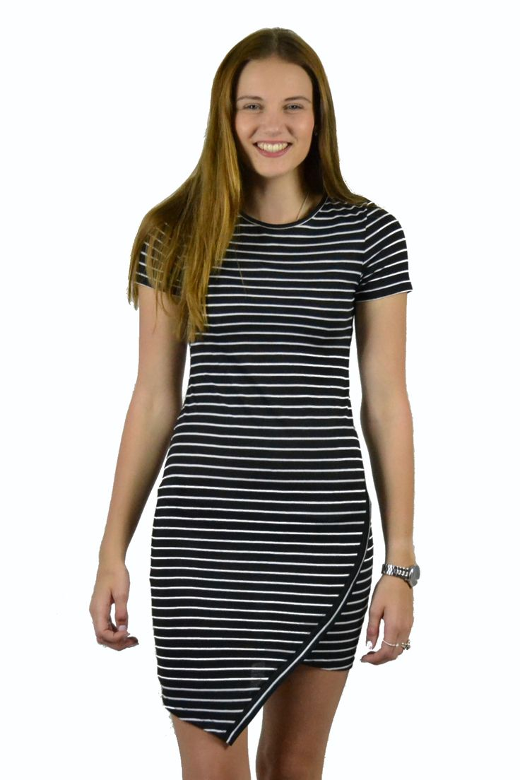 Black & White Stripped LBD featuring origami cut skirt, only $65, size 8, 10, 12 & 14