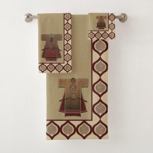 Kimonos Gold And Red Bath Towel Set Zazzle Com Bathroom Towel