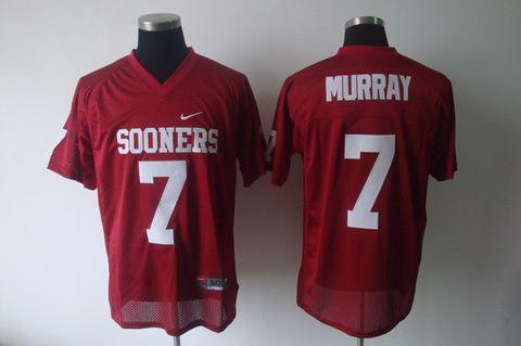 Men's NCAA Oklahoma Sooners #7 Murray Red Jersey