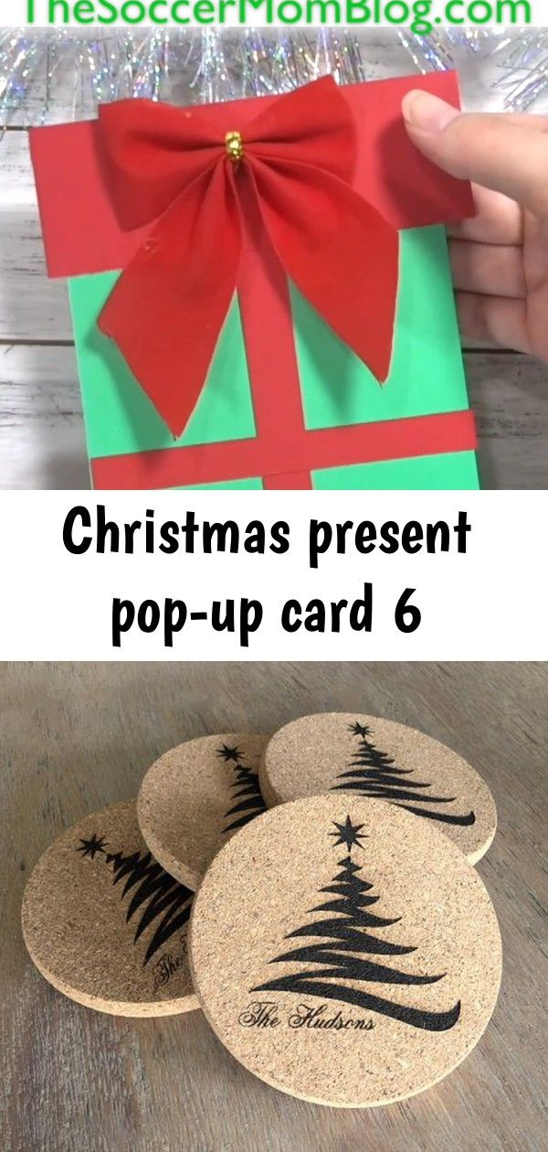 Christmas Present Pop Up Card 6 Diy Christmas Gifts Easy Diy Gifts Holiday Coasters