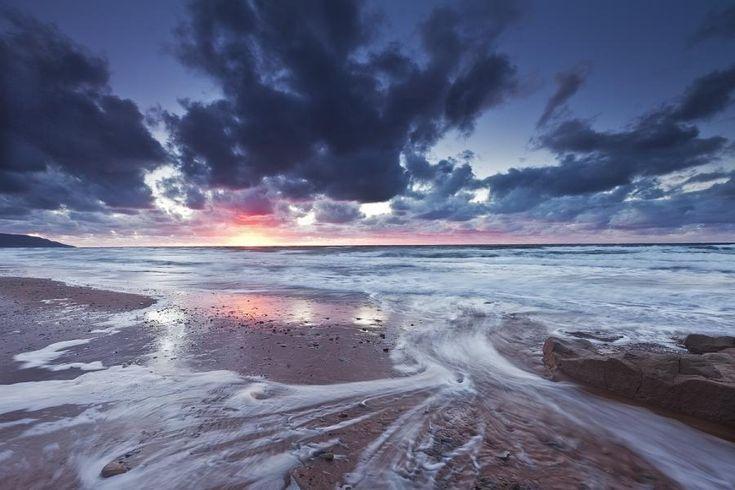 Sunset on Inverness Beach, Cape Breton Island, Nova Scotia, Canada  -CC