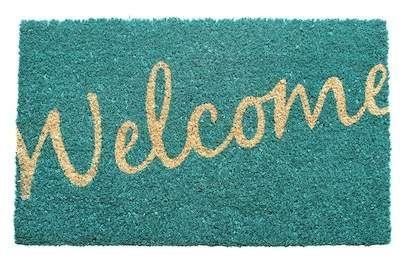 Cursive Welcome Non Slip Coir Doormat