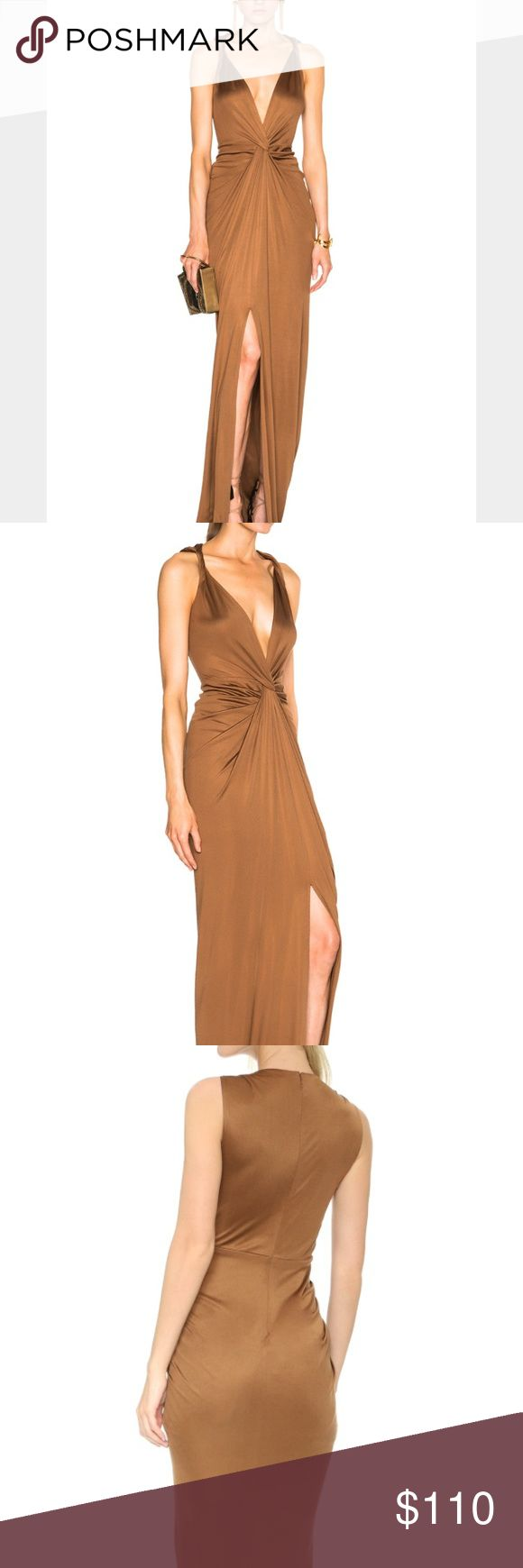 Veronica Beard • Dragonfruit Deep V Gown Never worn. Wrinkled from storage but otherwise like new condition. Modeled photos depict fit accurately. Marked size 4, fits most size small sizes. Bronze color. Great for weddings, prom or special events overall. Veronica Beard Dresses