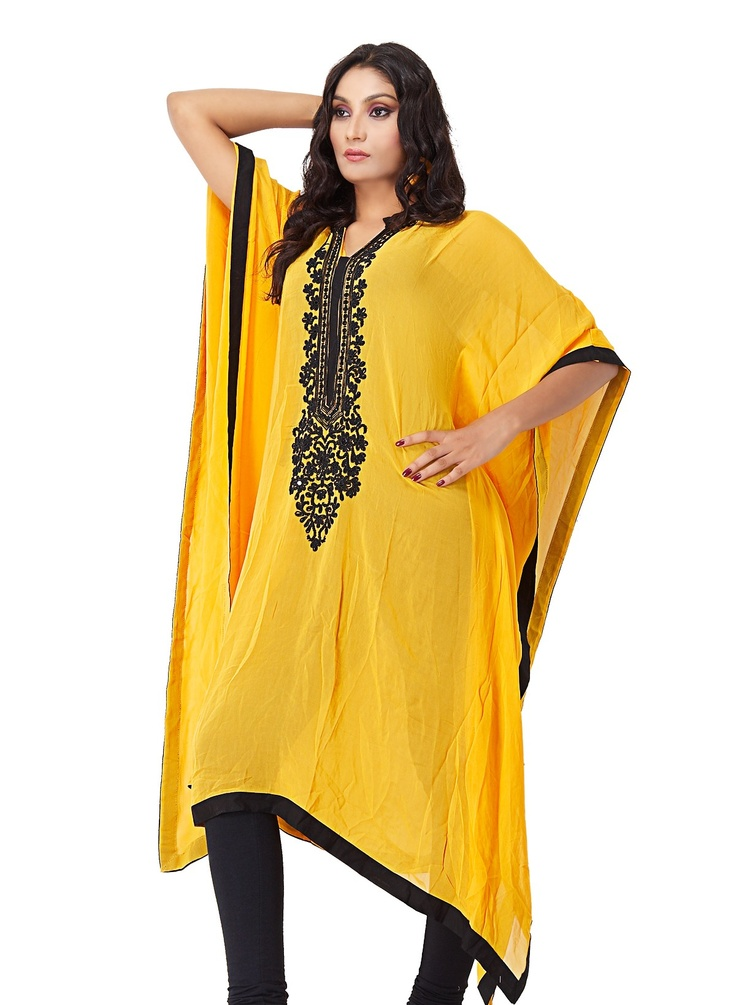 Yellow Faux Chiffon Kaftan Style Kurta Exclusive Lounge Wear