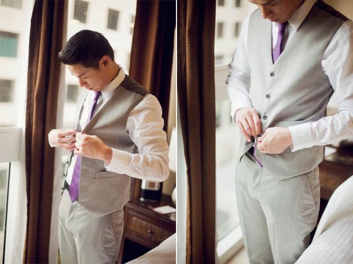 gray and purple groomsmen