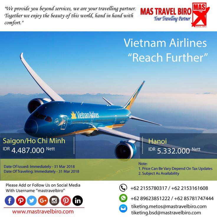HOT PROMO Tiket Vietnam Airlines, Cek yuk Sekarang selagi ada!  Beli tiket pesawat & KAI, booking hotel dan beli paket tour diMas Travel Biro ajaa.  #mastravelbiro #promotiket #travelservices #tiketpesawat #travelagent #tourtravel #travelindonesia #opentrip #familytour