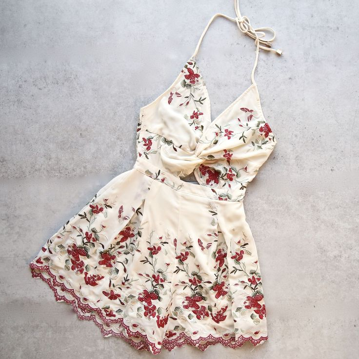 cherry picking - floral embroidered romper