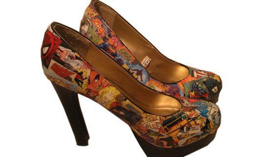 Custom Comic Book Heels - by Delaney Saul, Ponita. Eagle Rock, CA.
