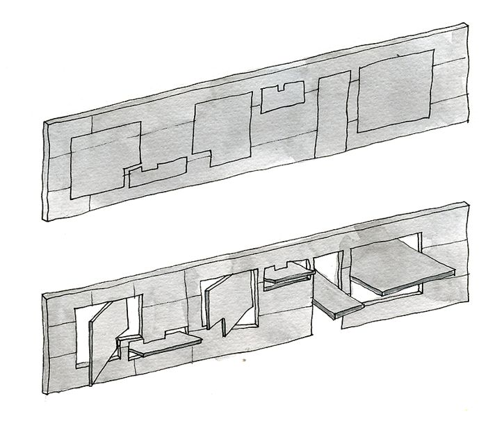 Storefront . Steven Holl Take this into Morocco, can open a cafe, etc that opens to the street during certain hours but then closes at night for privacy and respect to the original form of the traditional house