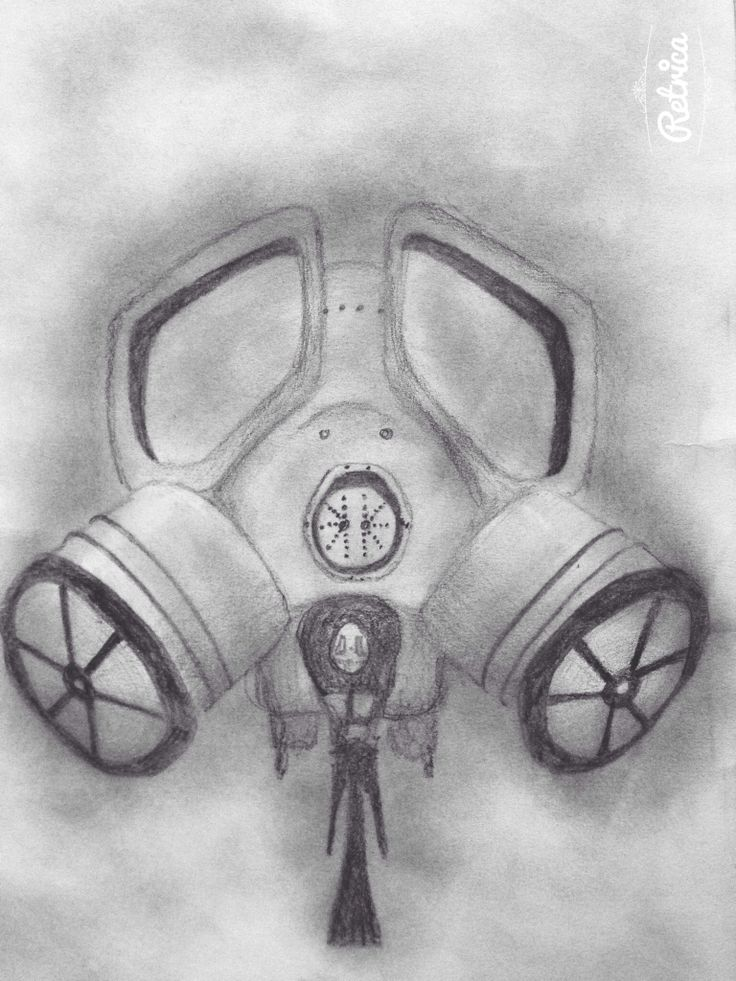 Pencil drawing inspired by dubstep gas mask art # ...