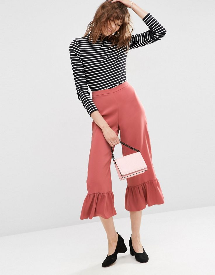 Image 1 of ASOS Occasion Trousers with Frill Hem