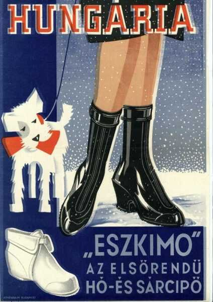 Hungária Eszkimo elsőrendű hó- és sárcipő plakát
