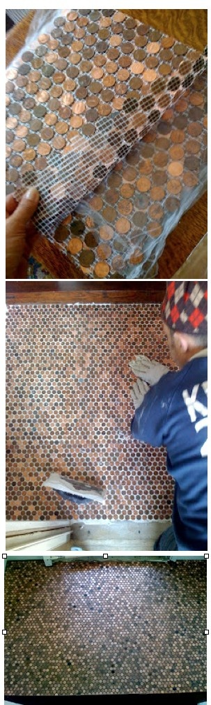 """PENNY FLOOR TILE.  Need: PENNIES, TEMPLATE, MESH BACKING  for mosaic tiles (http://www.mosaicartsupply.com/ mosaic_tile_mesh.aspx), WELDBOND GLUE, reg THIN SET, LATICRETE EPOXY GROUT (in Chocolate Truffle), LATICRETE CLEAR EPOXY Liquid Grout. • Collect pennies. Make 12"""" sq TEMPLATE of penny layout (cov w/pkg tape). Cut 13"""" sq mesh backing. Place mesh over template, Glue pennies to mesh accord to template. Install backing. Install tile w/reg thin set acc to pkg dir. Grout tile acco to pkg…"""