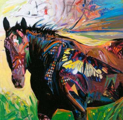 mixed media horse art | butterfly art and horse paintings all in a colloage of brilliant color ...