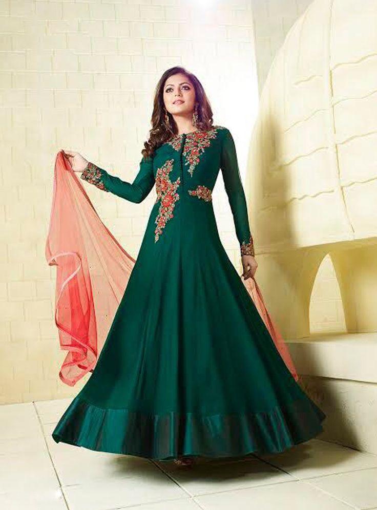 Buy Drashti Dhami Dark Green Chiffon Ankle Length Anarkali Suit 82810 online at lowest price from vast collection at m.indianclothstore.c.